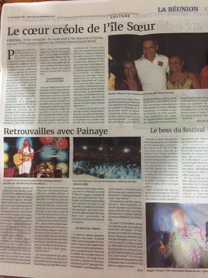 Journal de l'île 2016 Festival Kréol