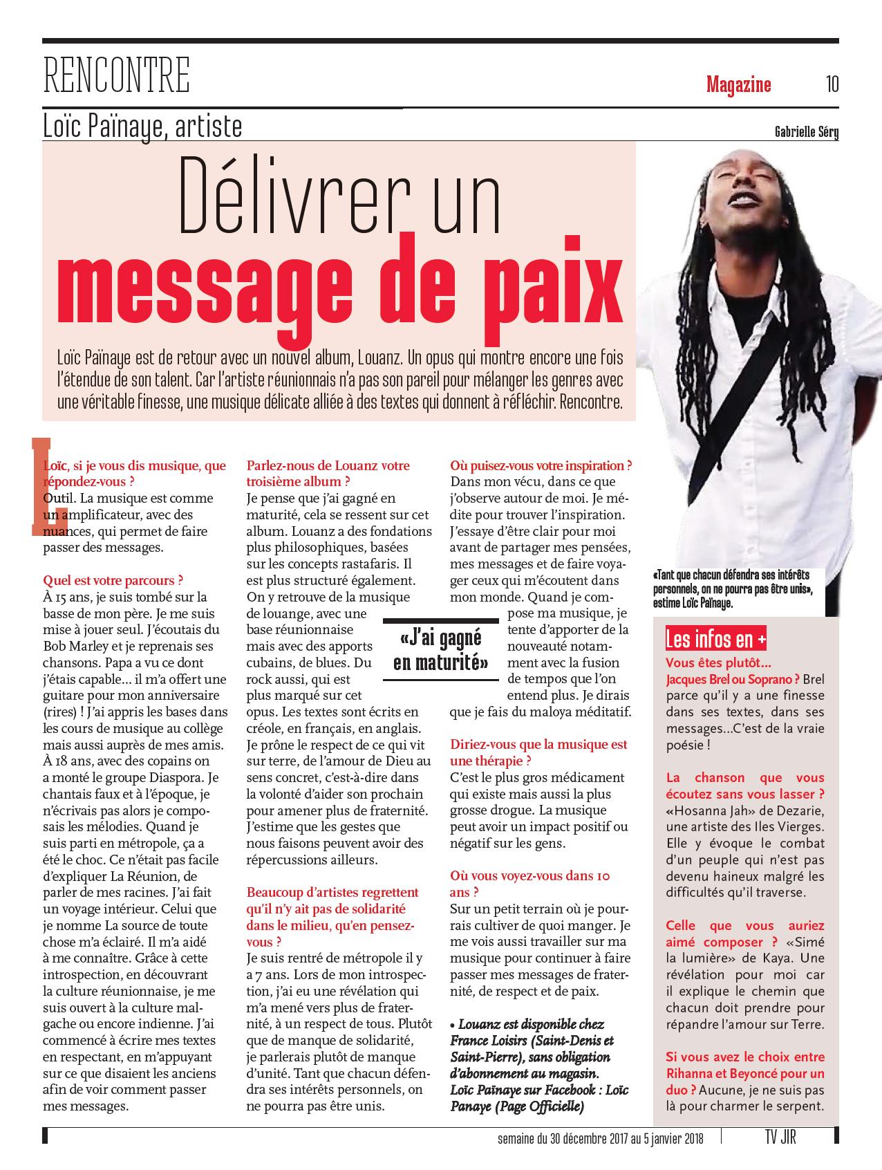 Délivrer un message de Paix - Le JIR
